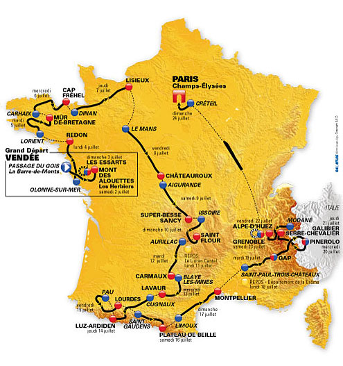 Carte du Tour de France 2011, les étapes du tour